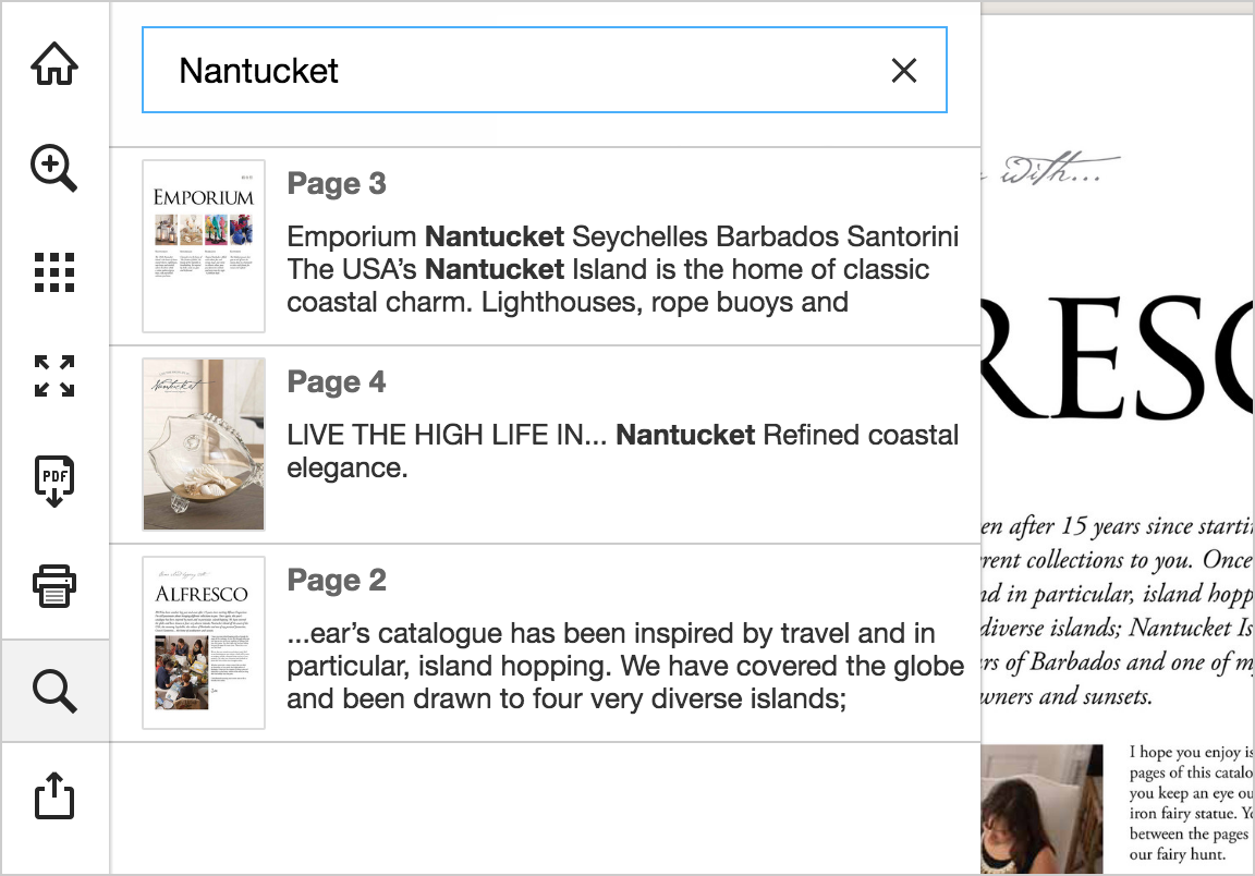 Search results in a Publitas online publication.