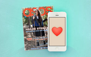 Magazine cover and a mobile device to indicate an online magazine.