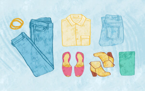 Illustration showing a variety of clothes.