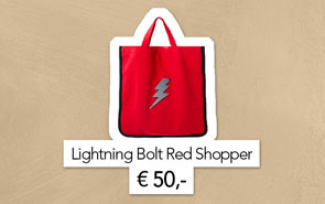 Red shopping bag with a buy button.