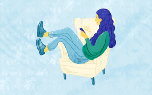 Illustration of a woman sitting on a couch viewing a catalog on her mobile.