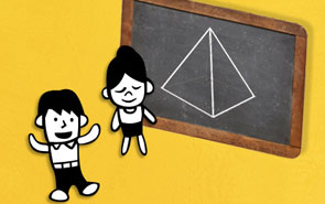 Cartoon girl trying to explain a pyramid in words. Then shows it on a chalkboard.