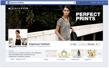 Expresso Fashion online magazine tab on their facebook page.