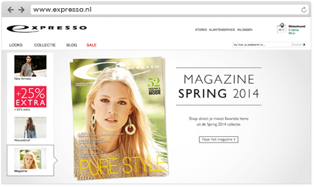 Link to online magazine on expresso fashion homepage