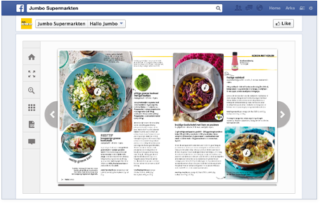 Jumbo online magazine embedded in their Facebook page.