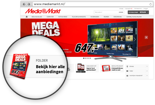 Link to Media Markt online catalog on their homepage.