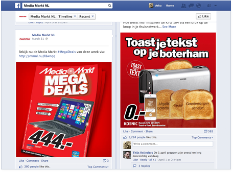 Media Markt online catalog shared on Facebook.