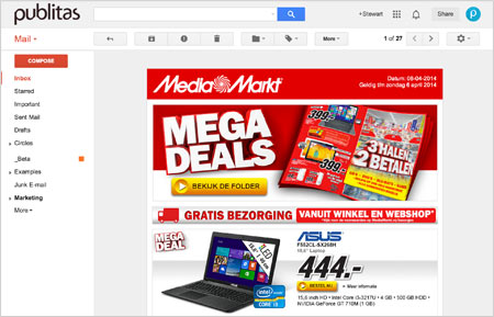 Media Markt online catalog featured in their newsletter.