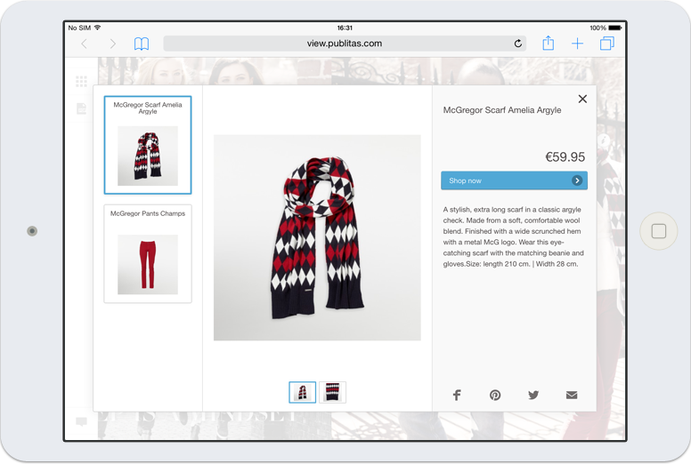 Product layer in an online catalog on tablet.